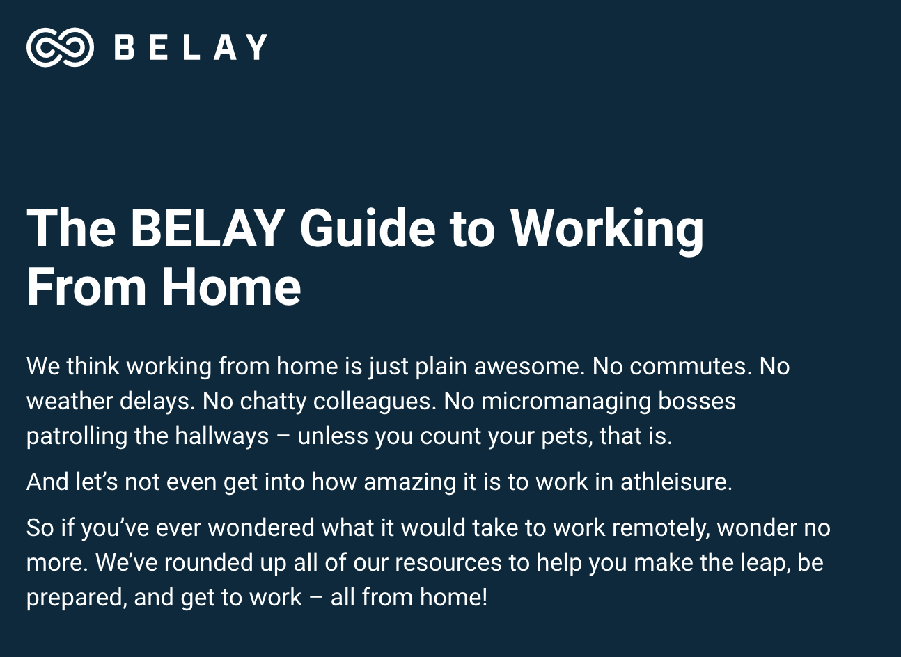 BELAY Guide to Working from Home