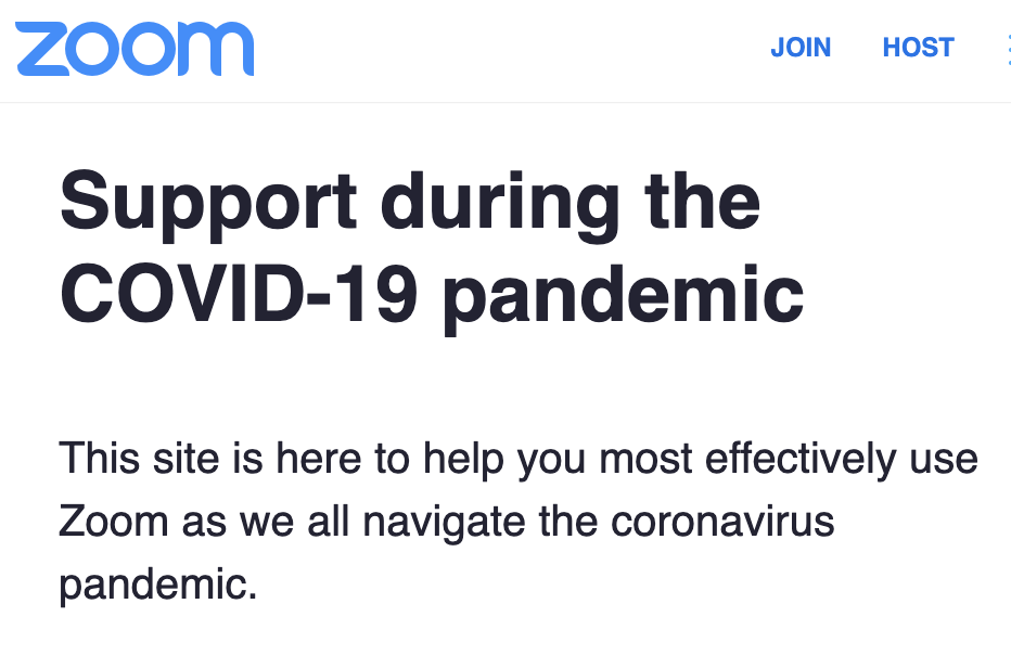 Zoom Support During The COVID-19 Pandemic
